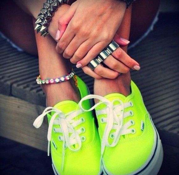shoes neon yellow vans neon vans