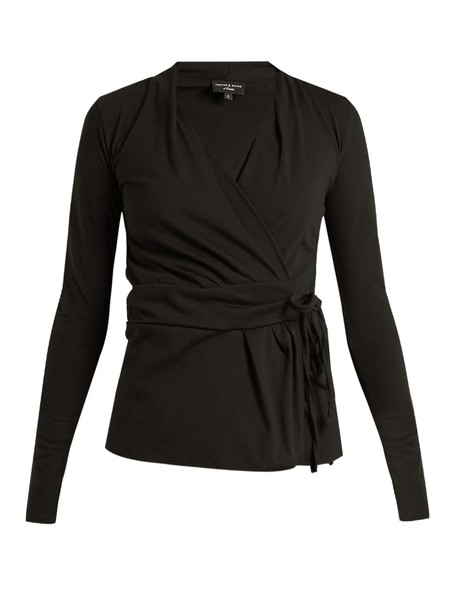 PEPPER & MAYNE top wrap top pleated cotton black