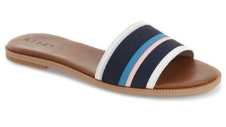 shoes hinge sandals blue white pink slide sandals flat sandals cute sandals tri color sandals cute slide sandals