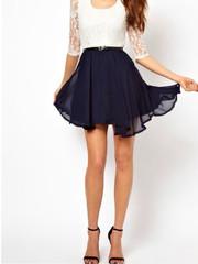 White and dark blue round neck dress