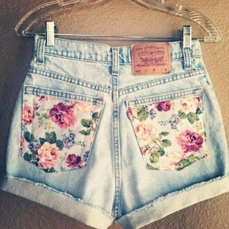 shorts floral denim flowered shorts vintage summer spring denim shorts flowers pink roses pastel light blue jeans high-wasted denim shorts detail back pocket roll-up floral pockets style