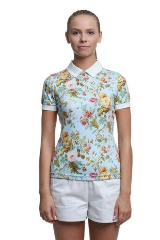 t-shirt polo shirt printed polo shirt printed polo floral flowers flower t-shirt shorts white white shorts all over print polo shirt full print polo shirts floral tank top