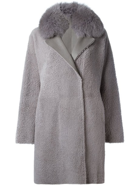 coat double breasted fur fox women grey