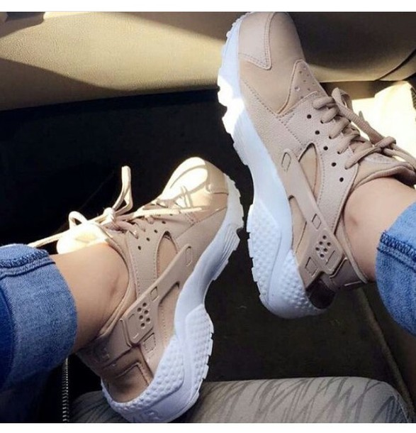 uk availability f7422 09052 shoes huarache nude sneakers nike huarache sneakers nike sneakers huarache  nike huaraches tan nike huaraches tan