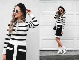 different cands blogger sweater skirt shoes ankle boots white boots black and white beret striped sweater