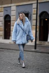 jacket,fur,fur coat,fur jacket,blue jacket,jeans,denim,ripped jeans,boots,ankle boots,silver boots,sequins