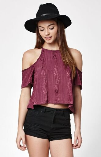 top cropped cold shoulder top burgundy cropped shoulder top burgundy shoulder top cold shoulder top