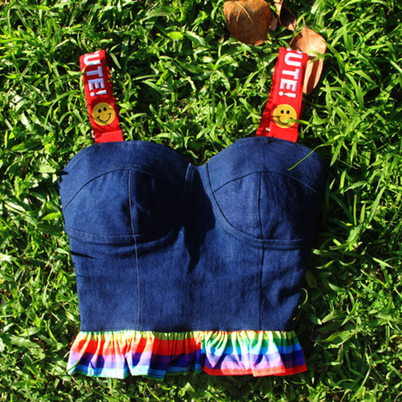 smiley face rainbow korean fashion top crop tops bralette kawaii fashion denim japanese fashion tokyo fashion harajuku harajuku fashion cropped bralette kfashion cfashion chinese fashion corset top corset