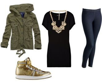 jacket little black dress gold necklace gold military sneakers leggings military green shirt