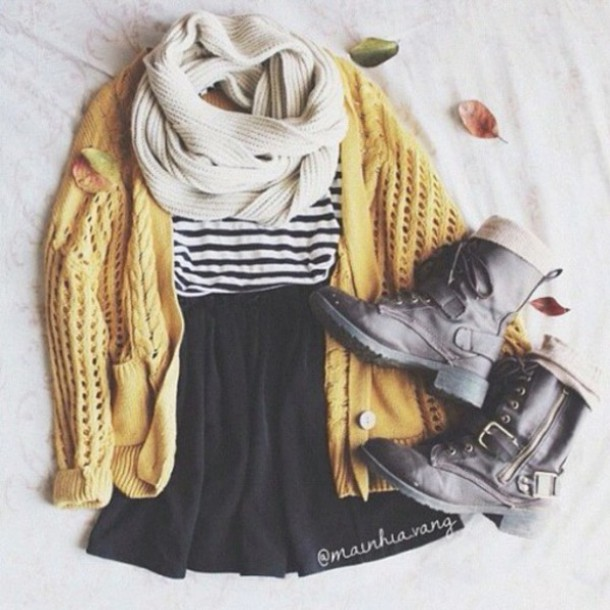 jacket cardigan warm yellow scarf skirt top fashion style boots shoes