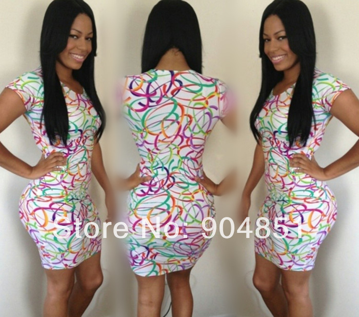 2014 Popular Women Bodycon Dress, Ladies Color Circles Sexy Party Bandage Dress, Package Hip Dress Drop Shipping M7-32 | Amazing Shoes UK
