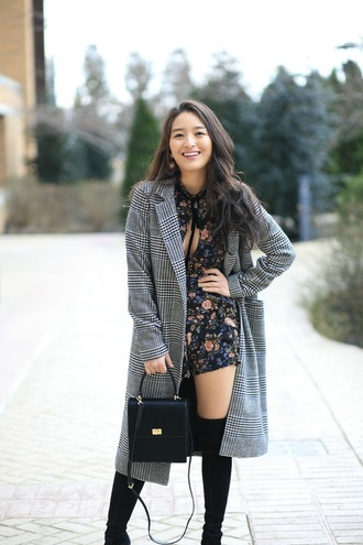 sensible stylista blogger jewels romper coat shoes bag boots over the knee boots black boots grey coat