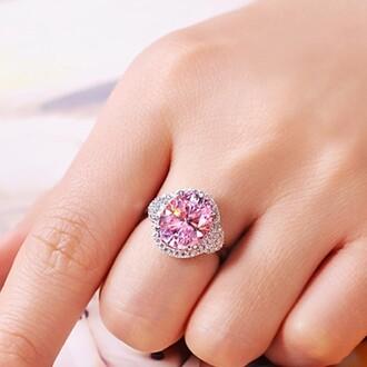 jewels evolees evolees.com big round cut 4.0 ct nscd pink diamond engagement  wedding ring pink diamond engagement ring 4.0 ct diamond ring