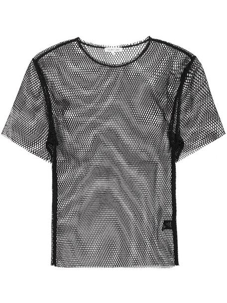 Helmut Lang - Courtney fishnet top - women - Polyester - XS, Black, Polyester
