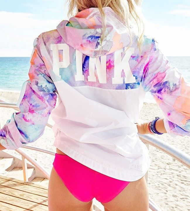 5362db1988 NWT Victoria s Secret PINK Tropical Rainbow Anorak Windbreaker ...
