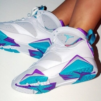shoes sneakers jordans teal white purple air jordan retro jordans jordan 7 js jordan's white mineral blue jordan's light blue