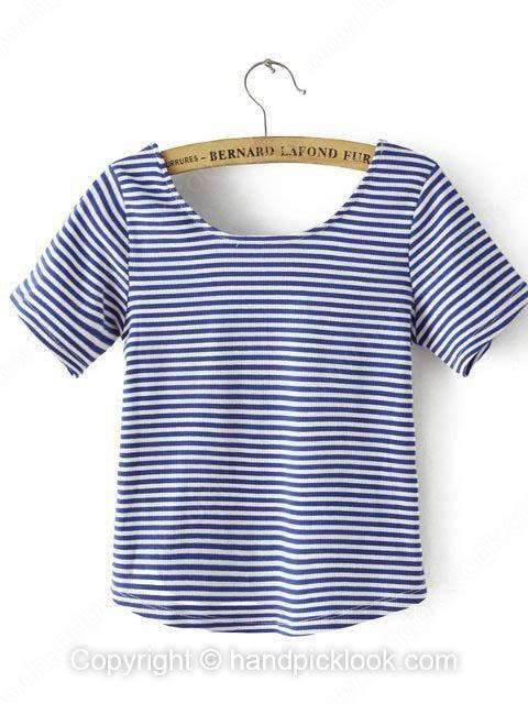 Blue White Short Sleeve Striped Crop T-Shirt - HandpickLook.com