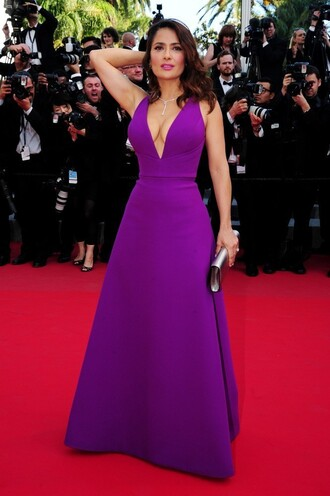 dress gown maxi dress purple salma hayek cannes prom dress red carpet dress