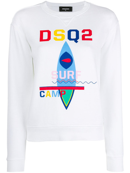 Dsquared2 sweatshirt women surf white cotton print sweater