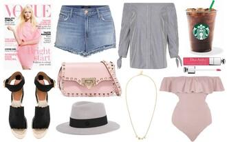 vogue haus blogger dress hat bag shoes jewels sunglasses jacket top jeans