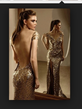dress prom dress backless prom dress sequin dress gold sequins