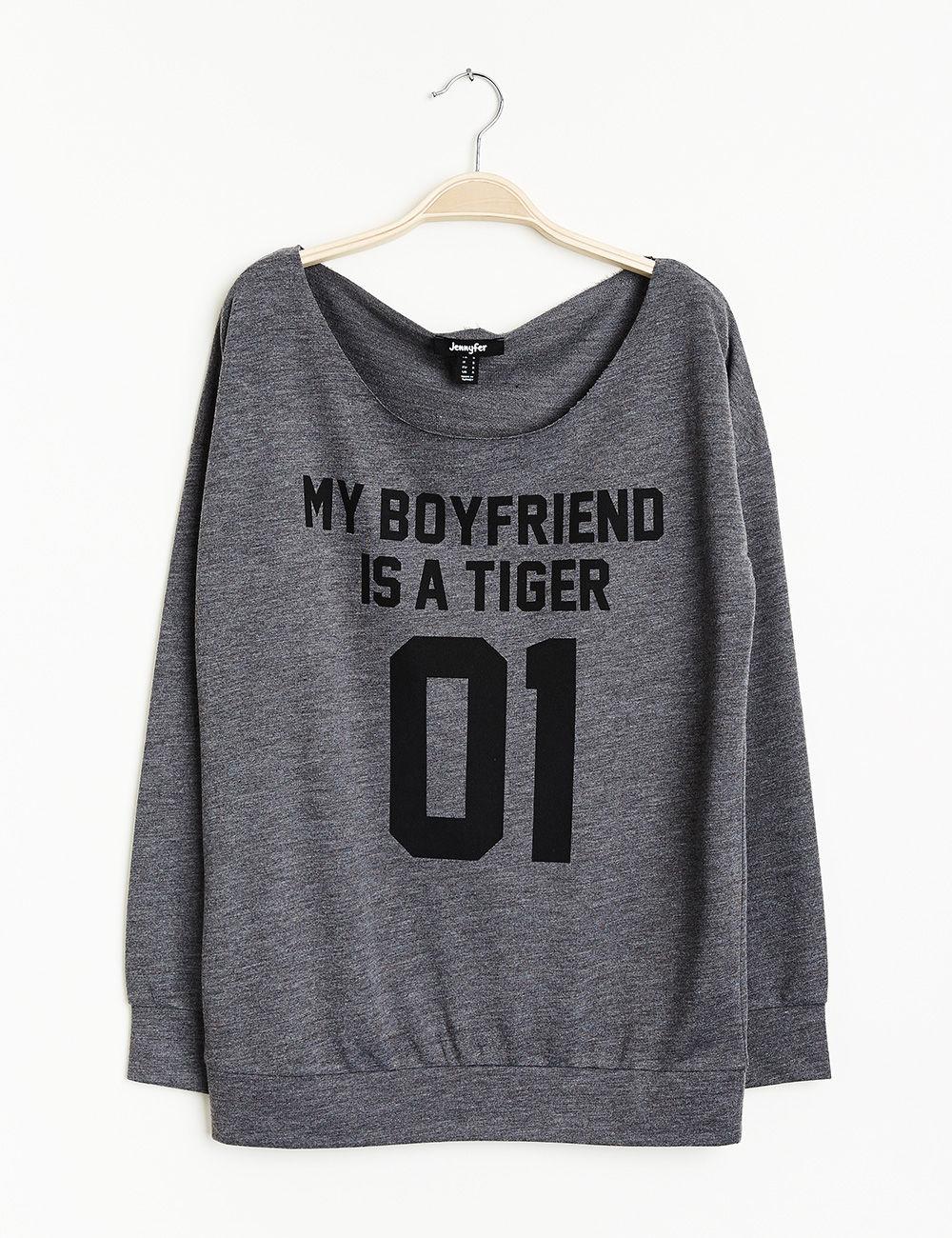 Sweat my boyfriend is a tiger gris chiné
