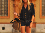 blouse,gold,black,button up,black blouse,t-shirt,shirt,bag,shorts,blonde hair,style,clothes,girly grunge,pants,dark blue,chemise,blue shirt,loose,boho,bohemian,needtohave,cute,chris brown,beautiful bags,top,navy,wonderful,beautiful,black shirt,brown,leather,leather bag