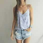 top,tank top,blouse,shorts,High waisted shorts,denim shorts,denim,ripped jeans,ripped shorts,summer top,summer,summer outfits,summer out,outfit,girly,blue grey