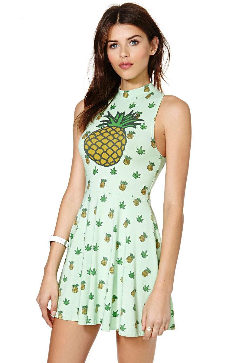 Women's Pineapple Print High Necked Sleeveless Waist Halter Big Swing Vest Sleeveless Dress Polka Dot Dress