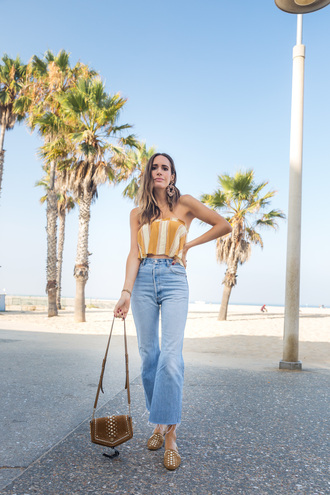 top tumblr crop tops yellow yellow top stripes striped top denim jeans blue jeans bag shoes flats