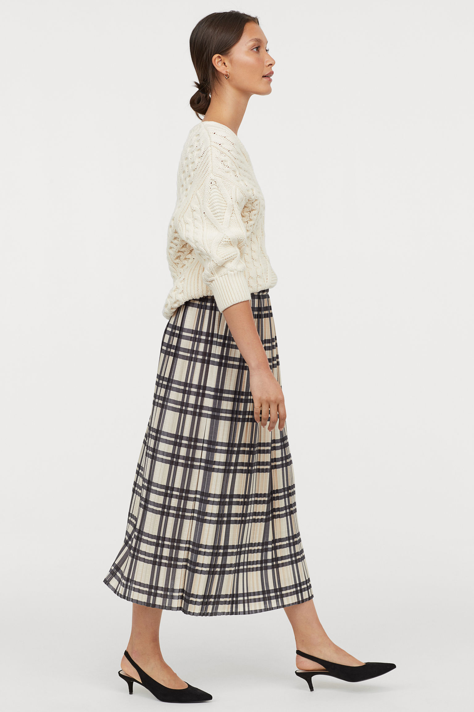 Pleated Wrap-front Skirt - Beige/checked - | H&M US