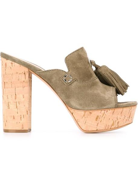 tassel women mules leather green shoes