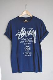 t-shirt,price,like,tumblr,stussy,blue,new york city,look-a-like,graphic tee,navy,los angeles,paris,shirt,stussy t-shirt