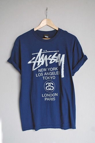 t-shirt price like tumblr stussy blue new york city look-a-like graphic tee
