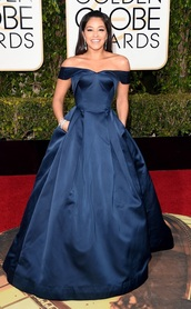 dress,blue dress,blue,navy dress,celebrity style,prom dress,prom,prom gown,a line dress,sweetheart dress,off the shoulder,Golden Globes 2016,princess dress,gina rodriguez,plus size prom dress,curvy,plus size
