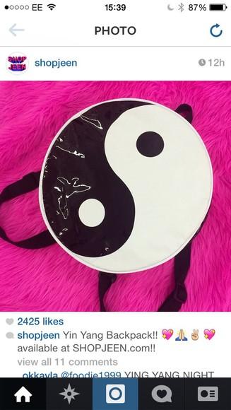 bag backpack cute ying yang