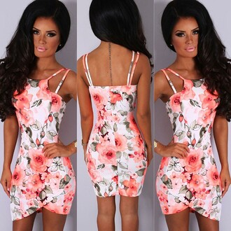 dress pink boutique neon coral floral mini dress