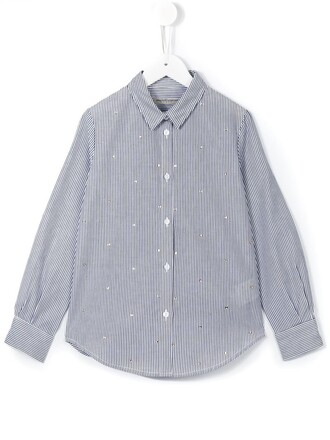 shirt striped shirt girl embellished blue top
