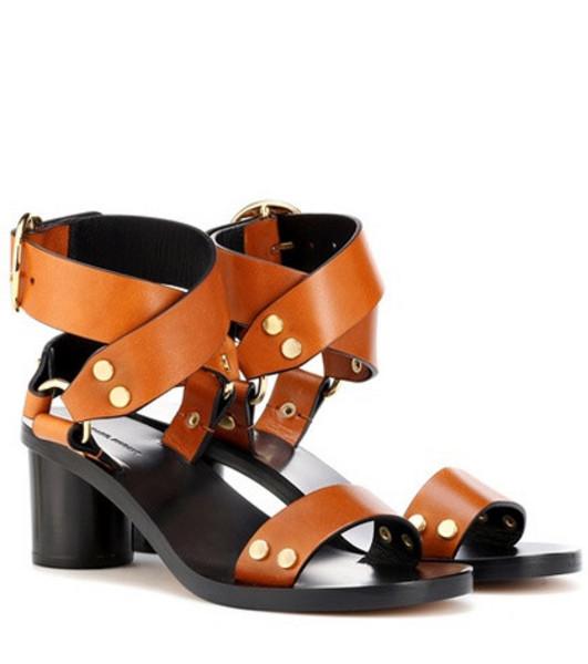 Isabel Marant Jeyka embellished leather sandals in brown