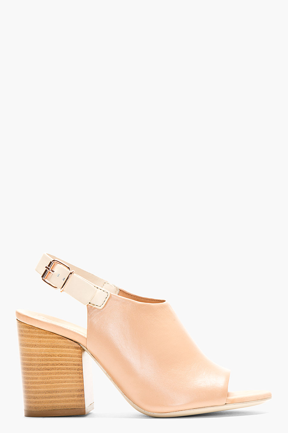 veronique branquinho nude leather slingback mule
