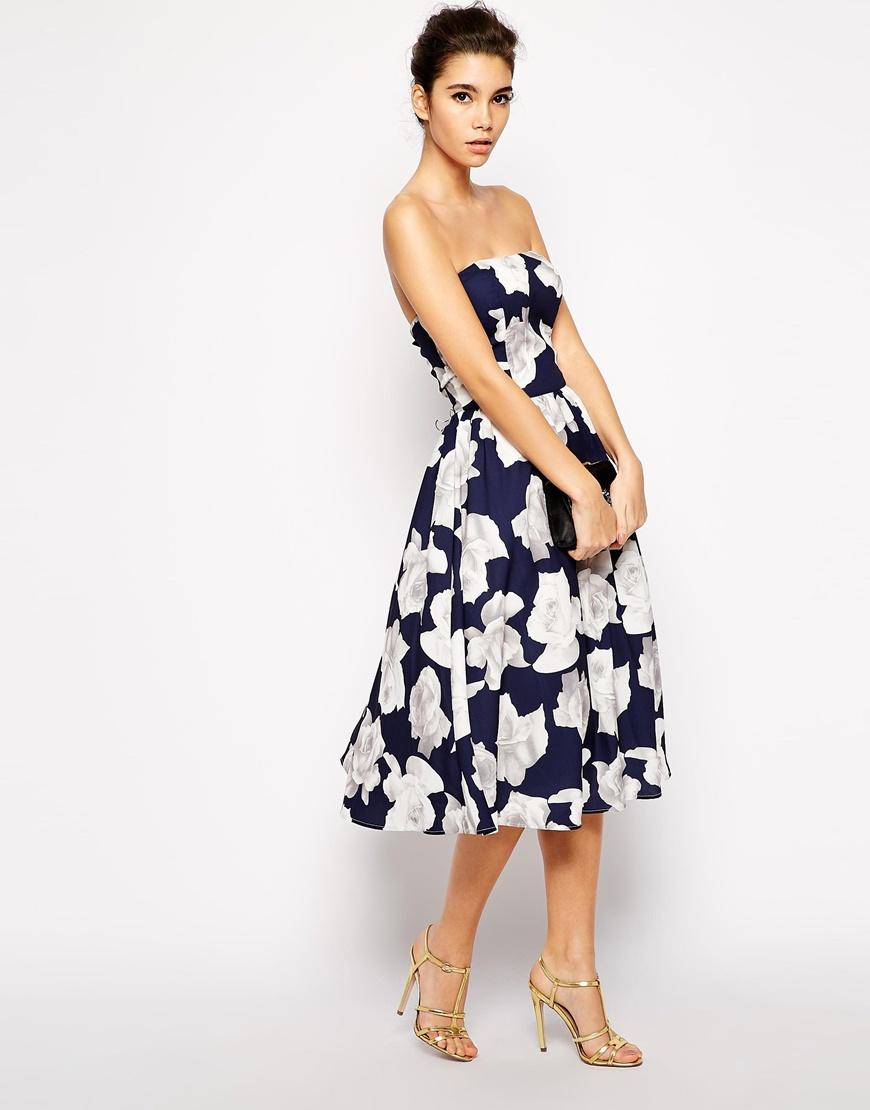 chi chi london bandeau midi full skater dress in floral. Black Bedroom Furniture Sets. Home Design Ideas