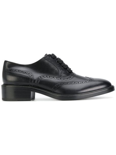 Sartore women classic lace leather black shoes