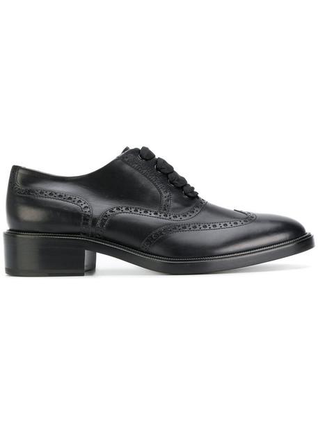 women classic lace leather black shoes