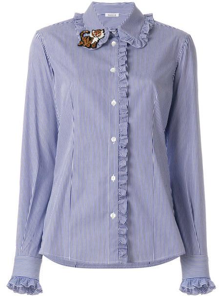 P.A.R.O.S.H. P.A.R.O.S.H. - tiger brooch ruffle shirt - women - Cotton - S, Blue, Cotton