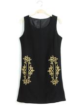 dress,black,embroidered,pleated dress,vintage,skirt,summer dress