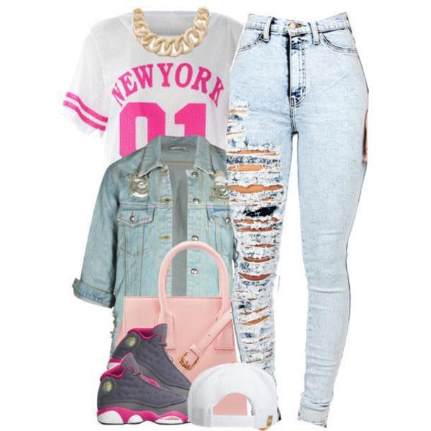 pants pink jacket jeans cap handbag jordans shoes chain bag shirt jumpsuit jewels ripped jeans