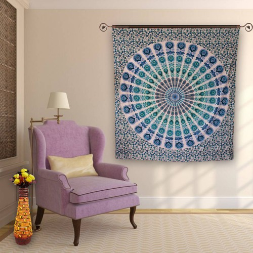 Indian Mandala Tapestry Peacock Wall Hanging Tapestry - HandiCrunch.com