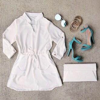 dress white dress mini dress mini summer miami teal blue flowy gojane