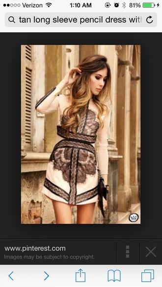dress tan long sleeve dress with black lace e