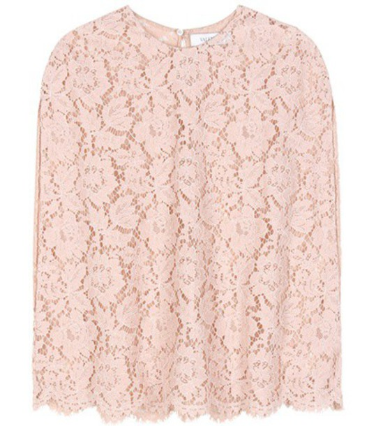 Valentino Cotton-blend Lace Top in pink